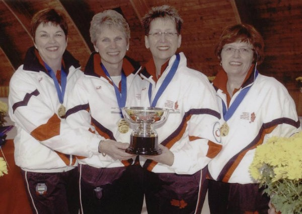 The 2003 Nancy Kerr curling team after winning the world senior women's curling championships.