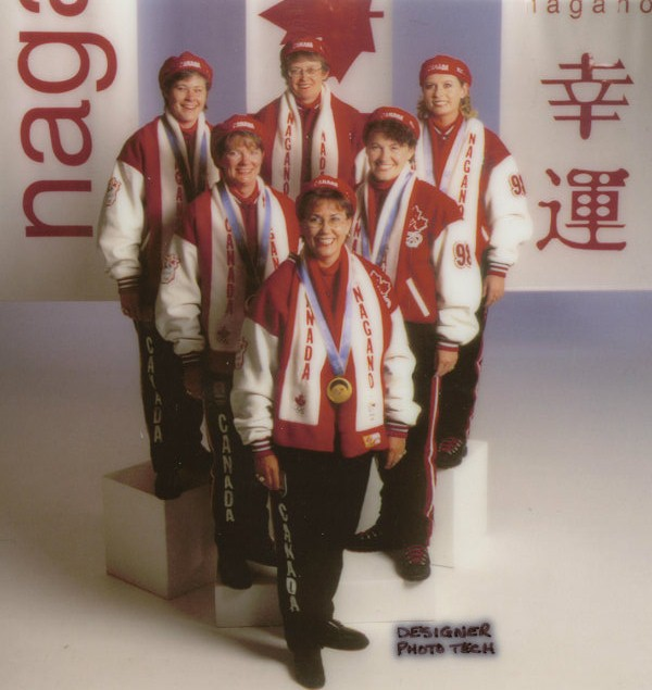 The 1998 Sandra Schmirler curling team in their Olympic finery